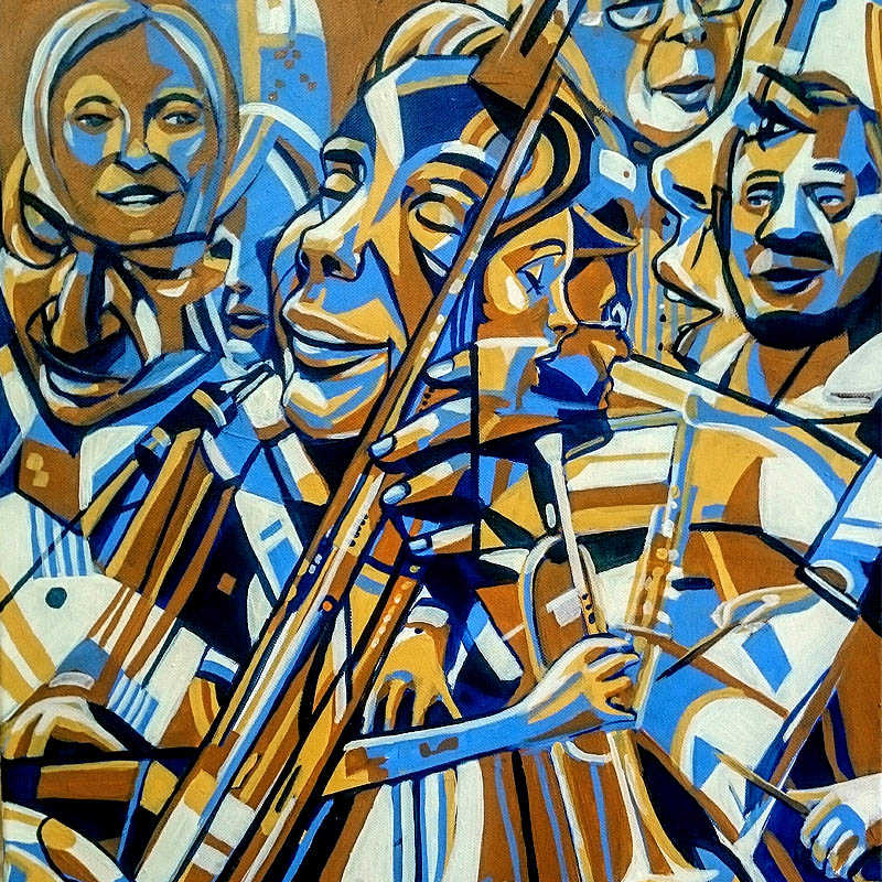"""Musicians at the Schwabentor Freiburg"" / 40x60cm / 2017"