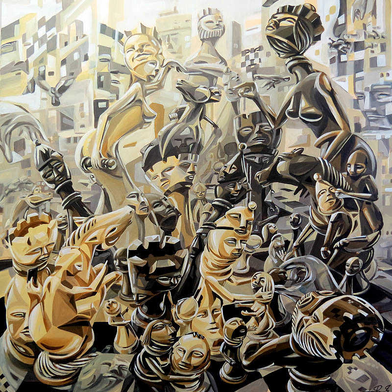 """Chess-Society"" / 100x100cm / 2015"
